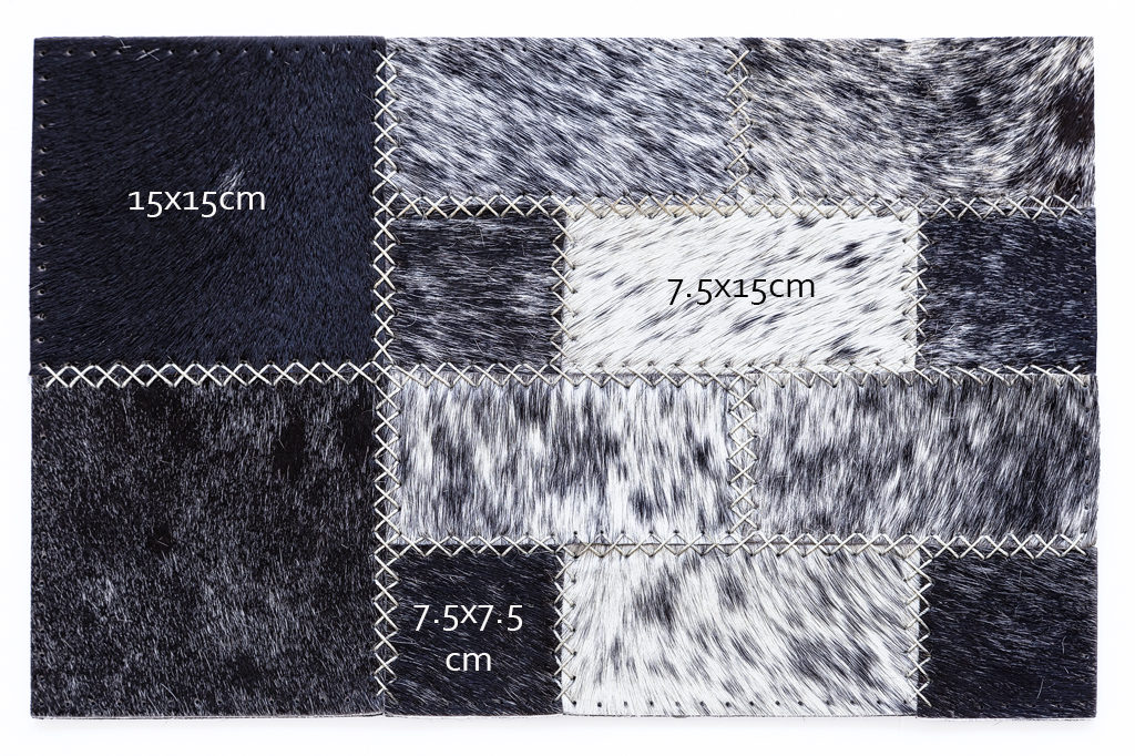 Cowhide blocks that make up Inkomo hand-stitched rugs