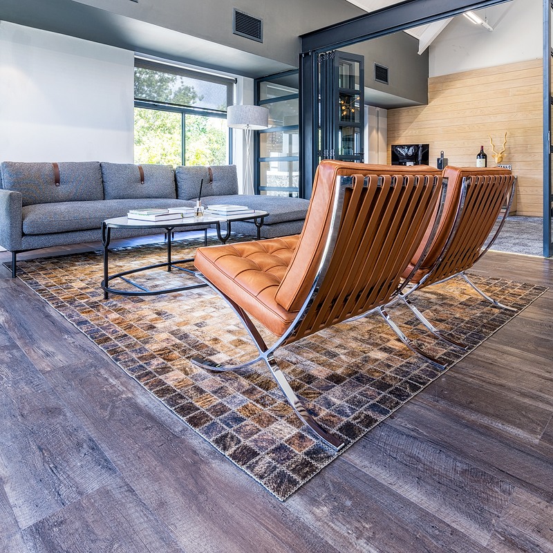 Inkomo Products: bespoke Nguni area rug for De Toren Private Cellar.