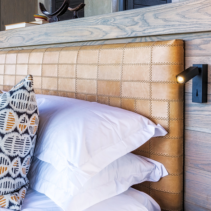 Leather hand stitched headboard by Inkomo Products